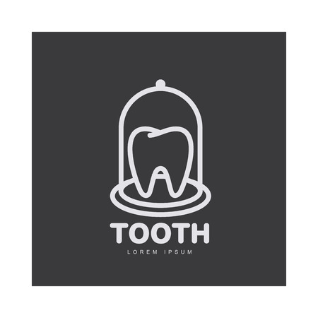 Black and white line art dental care template with tooth under bell glass, illustration isolated on black background. Stylized tooth, dental care , design