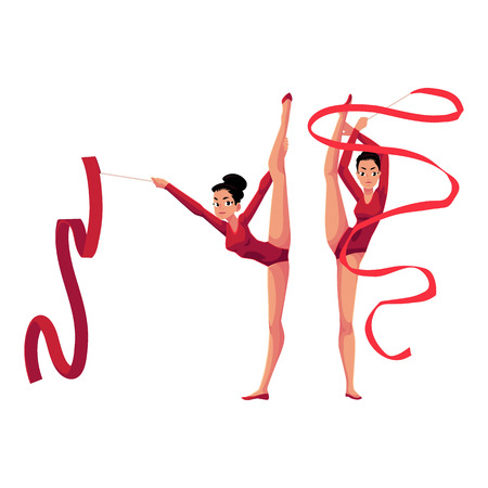 Two rhythmic gymnasts in leotards standing in vertical leg split, exercising with ribbon, cartoon illustration isolated on white background. Couple of rhythmic gymnasts exercising with ribbon
