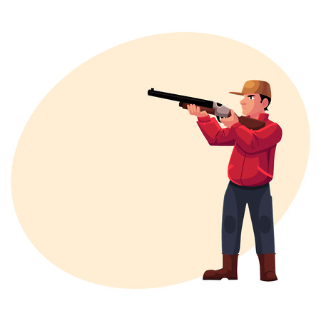 Single hunter aiming at his target with a gun, rifle, cartoon illustration with place for text. Full length portrait of typical modern hunter in jacket and boots aiming with a gun