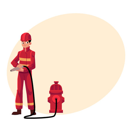 Firefighter, fireman in red protective suit holding fire hose at hydrant, cartoon illustration with place for text. Full length portrait of firefighter, fireman holding fire hose Illustration
