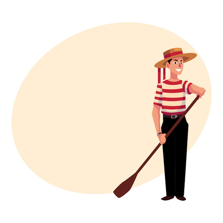 Full length portrait of young Italian, Venetian gondolier in typical clothes, cartoon illustration with place for text. Italian gondolier in traditional clothing, tourist attraction