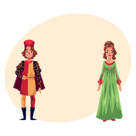 Italian Man and woman in Renaissance time costumes, clothing, cartoon illustration with place for text. Medieval, Renaissance Italian couple in traditional historical dresses