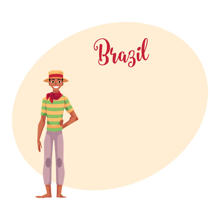 barefoot cowboy: Brazilian man in traditional costume for Festa Junina party, wearing straw hat and red neck tie, cartoon illustration with place for text. Brazilian man dressed for Festa Junina party