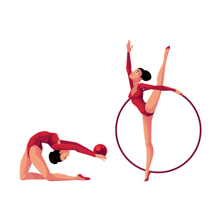Two flexible rhythmic gymnasts in leotards exercising with hoop and ball, cartoon illustration isolated on white background. Beautiful rhythmic gymnasts exercising with hoop and ball Illustration