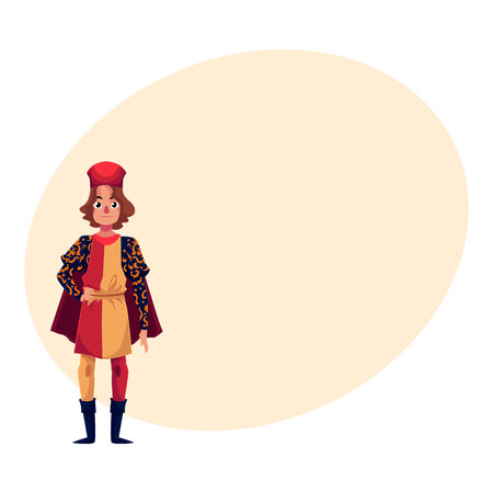 Full length portrait of young Italian man in Renaissance time costume, cartoon  illustration with place for text. Medieval, Renaissance Italian man in traditional historical costume