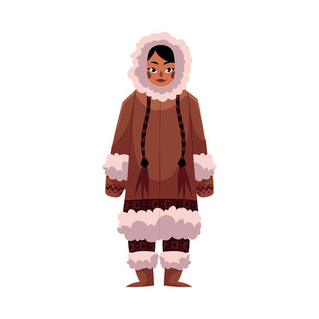Eskimo, Inuit woman in traditional warm winter clothes with long plaits, cartoon illustration isolated on white background. Full length portrait of Eskimo, Inuit woman and standing upright Illustration