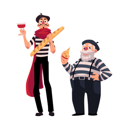 Two French mimes, young and old, in traditional costumes with symbols of France - cheese, wine baguette, cartoon illustration isolated on white background. French mime characters