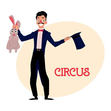 conjure: Magician, illusionist conjuring rabbit out of hat, artist performer, cartoon illustration with place for text. Magician in black suit with hat and rabbit, circus performance