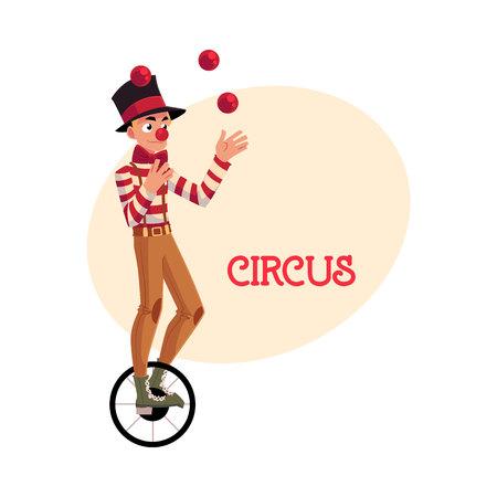 외발 자전거 타는 동안 저글링 재미 광대, 한 바퀴 자전거, 만화 그림 장소 텍스트. 외발 자전거에 서커스 공 요술쟁이 및 평형 장치 밸런싱
