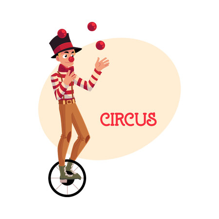 Funny clown juggling balls while riding unicycle, one wheeled bicycle, cartoon illustration with place for text. Circus ball juggler and equilibrist balancing on unicycle Illustration