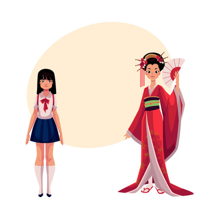 Japanese people - geisha in historical kimono and typical schoolgirl, cartoon illustration with place for text. Japanese geisha and schoolgirl, typical, stereotypical people of Japan