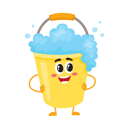 wash hand stand: Funny soap foam bucket character with smiling human face, cartoon illustration isolated on white background. Smiling soap foam bucket with detergent liquid character, house cleaning concept