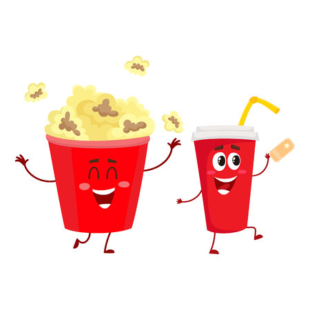 Cinema popcorn and soda water characters with smiling human face, cartoon illustration isolated on white background. Funny cinema popcorn bucket and soda water cup character, mascot