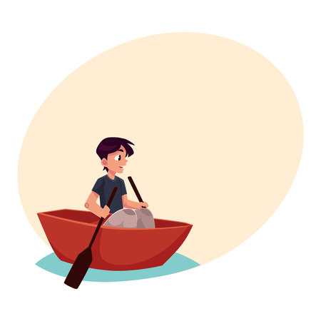 Boy swimming in little boat, kayak, summer vacation concept, cartoon illustration with place for text. Little boy swimming in river, pond in small boat