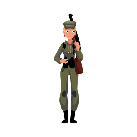 Slim, beautiful woman hunter in khaki, camouflage military style hunting clothes with a rifle, cartoon illustration isolated on white background. Full length portrait of modern woman hunter