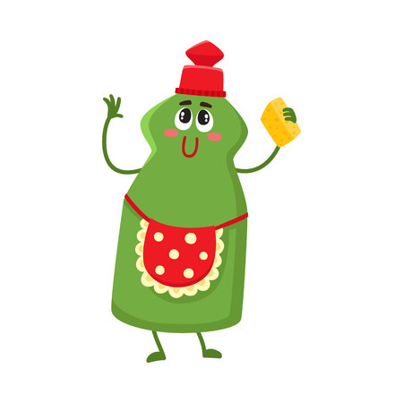 Funny dish washing character with smiling human face and cleaning sponge, cartoon illustration isolated on white background. Smiling dish washing character, house cleaning concept