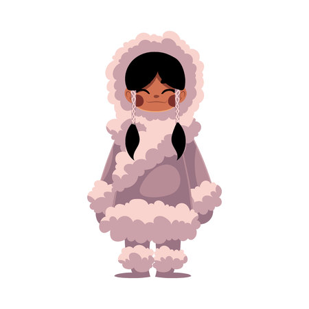 Eskimo, Inuit black haired girl in traditional sheepskin warm winter clothes, cartoon illustration isolated on white background. Full length portrait of Eskimo, Inuit little girl standing