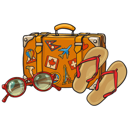 Flip flops, sunglasses and suitcase with tourist labels, beach vacation concept, sketch illustration isolated on white background. Flip flops, sunglasses and travel suitcase, summer vacation