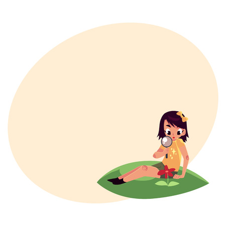 Little girl sitting on grass and studying a flower through magnifying glass, cartoon illustration with place for text. Little girl, botanist looking at flower through magnifying glass