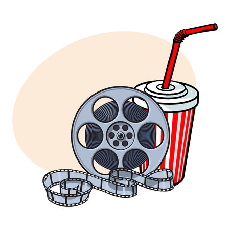 pop corn: Cinema attributes - retro style film reel and soda water in paper cup, sketch vector illustration with place for text. Drink in paper cup and film reel, cinema attribute, object