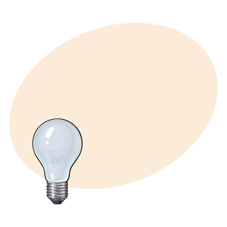 Matted, opaque tungsten light bulb, side view, sketch style vector illustration isolated with place for text. Realistic hand drawing of matted, opaque, nontransparent tungsten light bulb