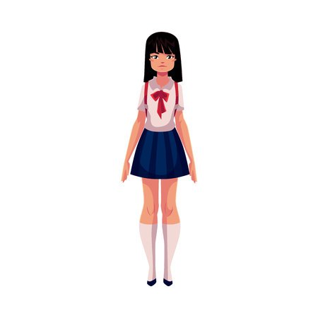 Japanese teenage schoolgirl in typical uniform wearing short skirt and red bow tie, cartoon vector illustration isolated on white background. Full length portrait of typical Japanese schoolgirl
