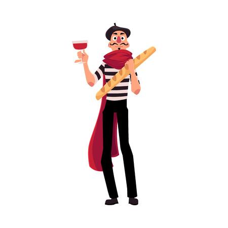 Hombre en ropa de mimo francés tradicional con vino y baguette como símbolos de Francia, ilustración vectorial de dibujos animados aislado sobre fondo blanco. Hombre francés, mimo, personaje con vino y baguette