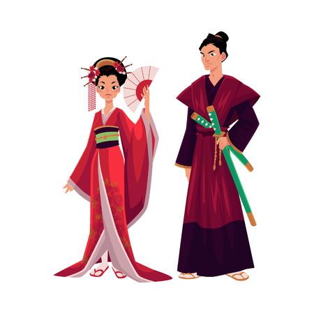 Japanese geisha and samurai in traditional kimono, symbols of Japan, cartoon vector illustration isolated on white background. Full length portrait of typical Japanese geisha and samurai