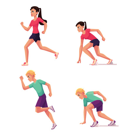 Set of runners, male and female, running and standing on starting blocks, cartoon vector illustration isolated on white background. Man and woman running and ready to run, sprint, track and field Illusztráció