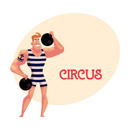 Strongman, sterke man circusartiest, gewichtheffer, power lifter met kanonskogels, cartoon vectorillustratie met plaats voor tekst.
