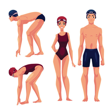 swimming cap: Set of swimmer, male and female, standing upright and preparing to dive, cartoon vector illustration isolated on white background. Man and woman in swimming suits, caps and goggles Illustration