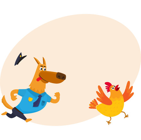 Funny shepherd dog character in blue police uniform chasing a chicken, cartoon vector illustration with place for text. Funny police dog character running after cackling chicken Illustration