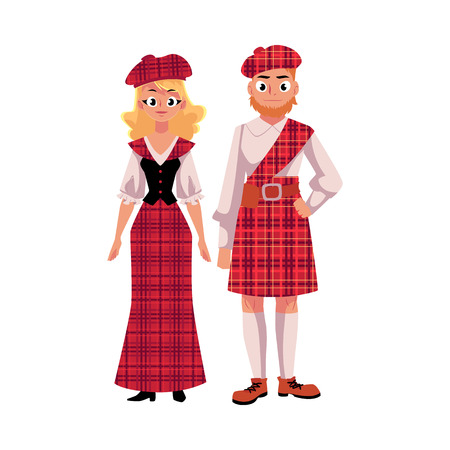 Scottish couple in traditional national costumes, tartan berets and kilts, cartoon vector illustration isolated on white background. Two Scottish people, man and woman, in tartan, plaid and kilts