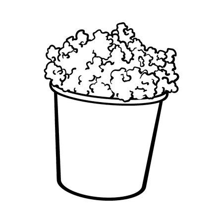 pop corn: Cinema popcorn in a big striped bucket, sketch style black and white vector illustration isolated on background. Popcorn bucket, traditional cinema, movie theatre attribute, food, snack