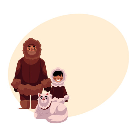 Eskimo, Inuit father and son in warm winter clothes with white fluffy sledge dog, cartoon vector illustration with place for text. Full length portrait of Eskimo, Inuit man and his son