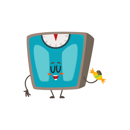 smile face: Funny bathroom weight scale character with smiling human face holding a candy, cartoon vector illustration isolated on white background. Smiling bathroom scale character, weight management tool