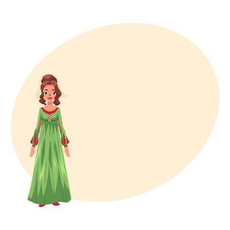 estereotipo: Retrato de cuerpo entero de mujer italiana en vestido de cintura alta renacentista, ilustración vectorial de dibujos animados con lugar para el texto. Medieval, renacentista, mujer italiana en traje histórico tradicional