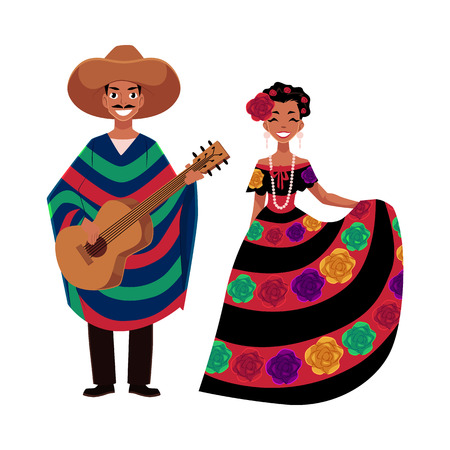Mexican man and woman in traditional national clothes for celebrations and carnivals, cartoon vector illustration isolated on white background. Mexican people, man and woman, in national costumes Ilustrace