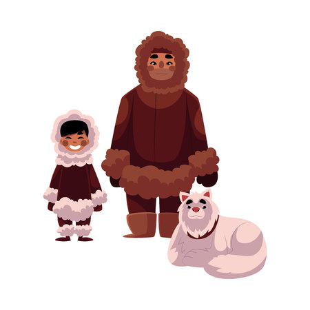 Eskimo, Inuit father and son in warm winter clothes with white fluffy sledge dog, cartoon vector illustration isolated on white background. Full length portrait of Eskimo, Inuit man and his son