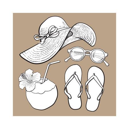 Conjunto de atributos de vacaciones de verano - sombrero de paja, gafas de sol, chancletas y bebida de coco, ilustración vectorial de estilo de boceto aisladas sobre fondo marrón. Conjunto de objetos de verano, símbolos, elementos