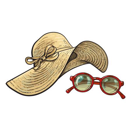 Modischer Strohhut mit breiten Klappen und Sonnenbrille im roten runden Rahmen, Sommergegenstände, Skizzenvektorillustration lokalisiert auf weißem Hintergrund. Hand gezeichneter floppy Strohhut und runde Sonnenbrille