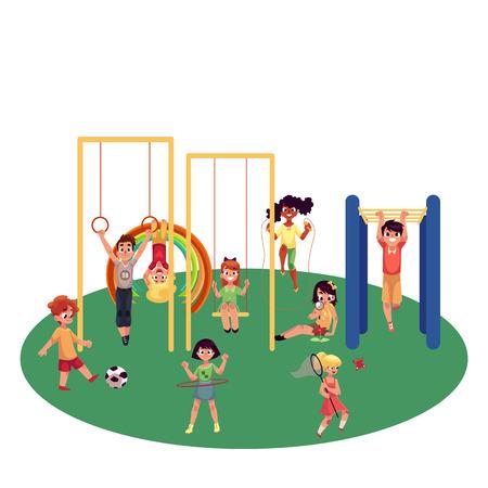 Kids, children playing at playground, monkey bars, swings, football, badminton, summer activity set, cartoon vector illustration isolated on white background. Set of kids having fun at playground