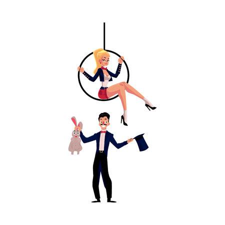 artistas de circo - mago conjurando conejo de sombrero y acróbata sentado en aro aéreo, ilustración vectorial de dibujos animados aislado en el fondo blanco. artistas de circo mago y Acrobat Ilustración de vector