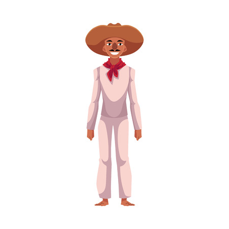 Mexican man in traditional national costume, white clothes and red neck tie, cartoon vector illustration isolated on white background. Full length portrait of Mexican man in national clothes Illustration