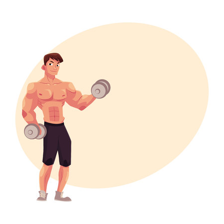 Young man, male bodybuilder, weightlifter doing bicep workout, training arms with two dumbbells, cartoon vector illustration with place for text. Male bodybuilder doing bicep workout Illustration