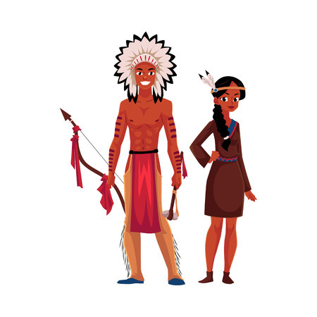 Native American Indian couple in traditional buckskin dress and breechcloth with leggings, cartoon vector illustration isolated on white background. Native American, Indian people in national clothes
