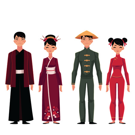 Set of people, men and women, in traditional national costumes, cartoon vector illustration isolated on white background. People of China in Chinese national clothes, garments, costumes Ilustração
