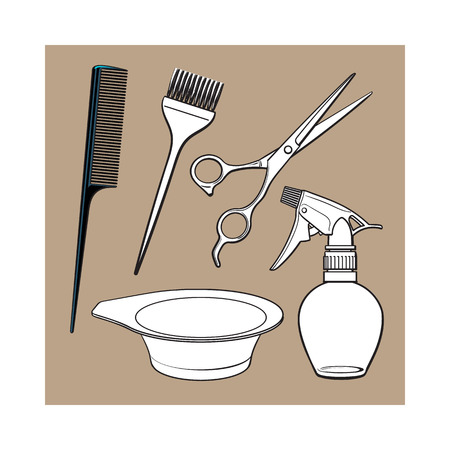 coiffeur: Set of hairdresser objects - scissors, brush, comb, coloring bowl and spray bottle, sketch style vector illustration isolated on brown background. Hairdresser, hair stylist tools, objects, attributes