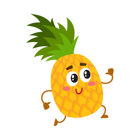 Cute and funny pineapple character running with thumbs up, cartoon vector illustration isolated on white background. Active funny pineapple character, mascot running with thumbs up Ilustracja