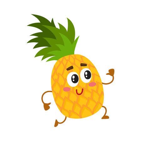 Leuk en grappig ananaskarakter die met omhoog duimen lopen, beeldverhaal vectordieillustratie op witte achtergrond wordt geïsoleerd. Actief grappig ananaskarakter, mascotte die met omhoog duimen loopt